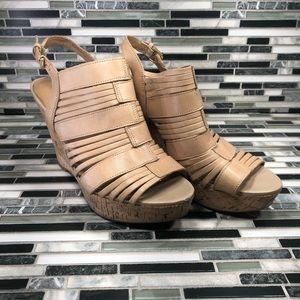 FRANCO SARTO Tan Leather SHARP CORK WEDGES